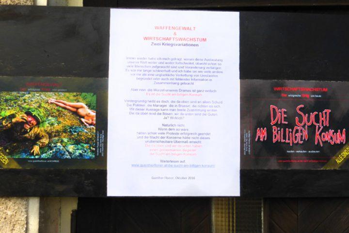 Kunstaktion 2016 Wirtschaftswachstum und Waffengewalt