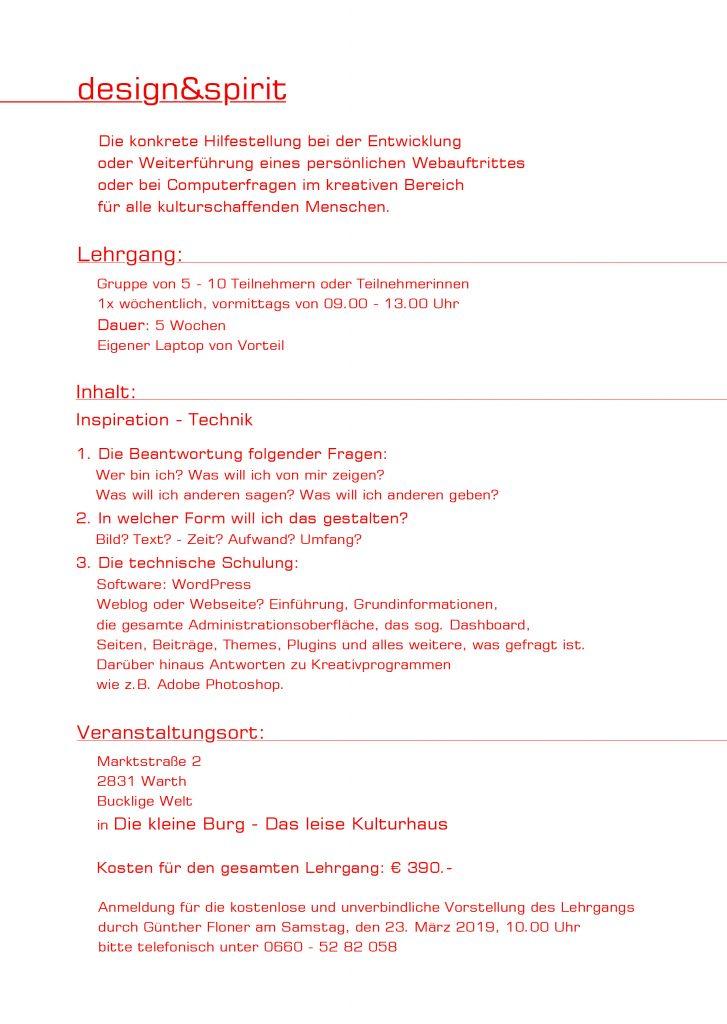 design und spirit - Lehrgang Webseitengestaltung für Kulturschaffende 02